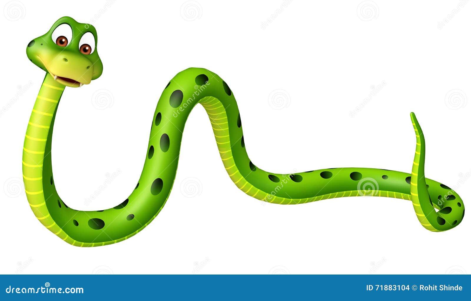 personaje de dibujos animados divertido de la serpiente stock de