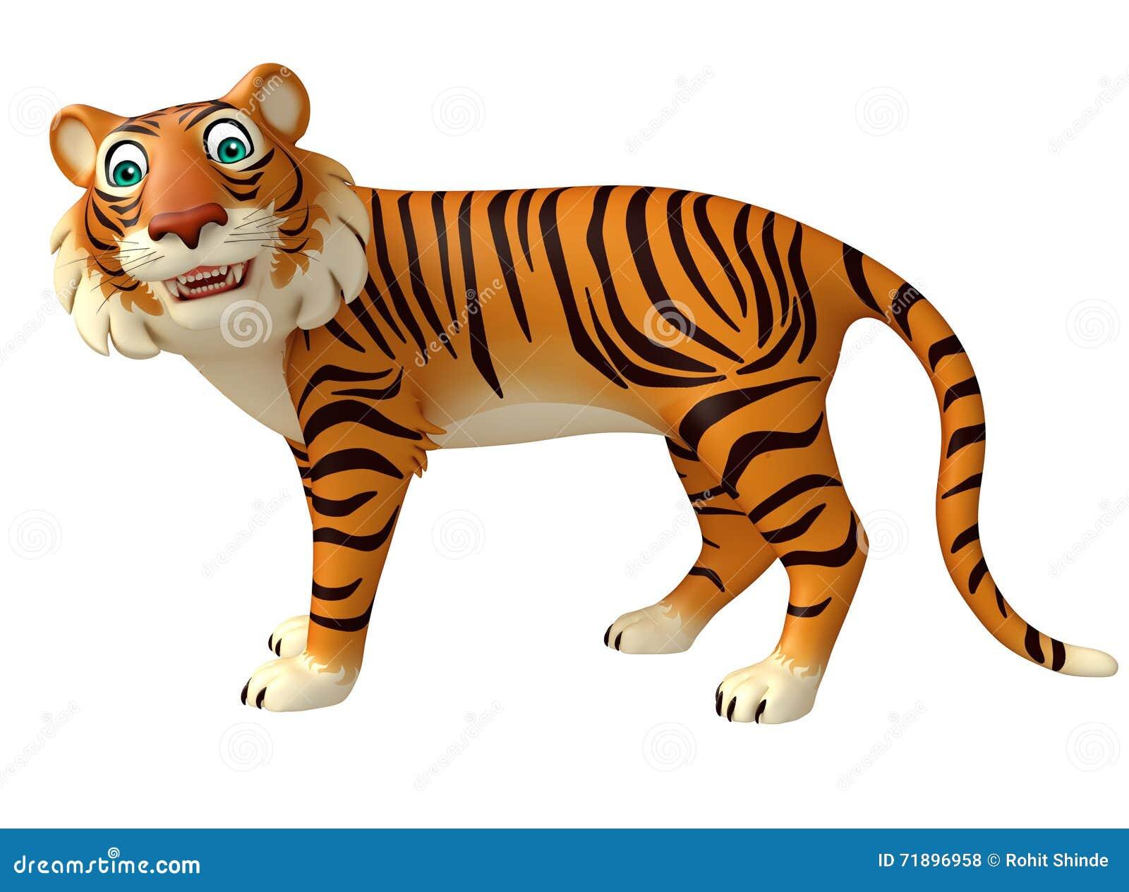 Personaje De Dibujos Animados Divertido Del Tigre Stock De