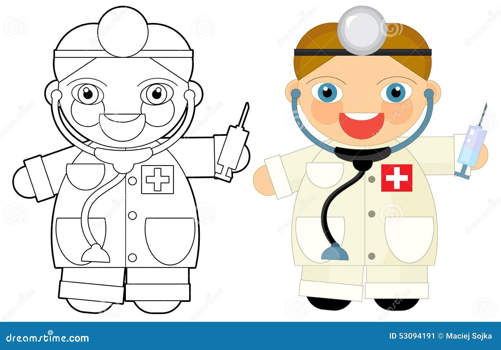 Personaje De Dibujos Animados - Doctor - Libro De Colorear ...