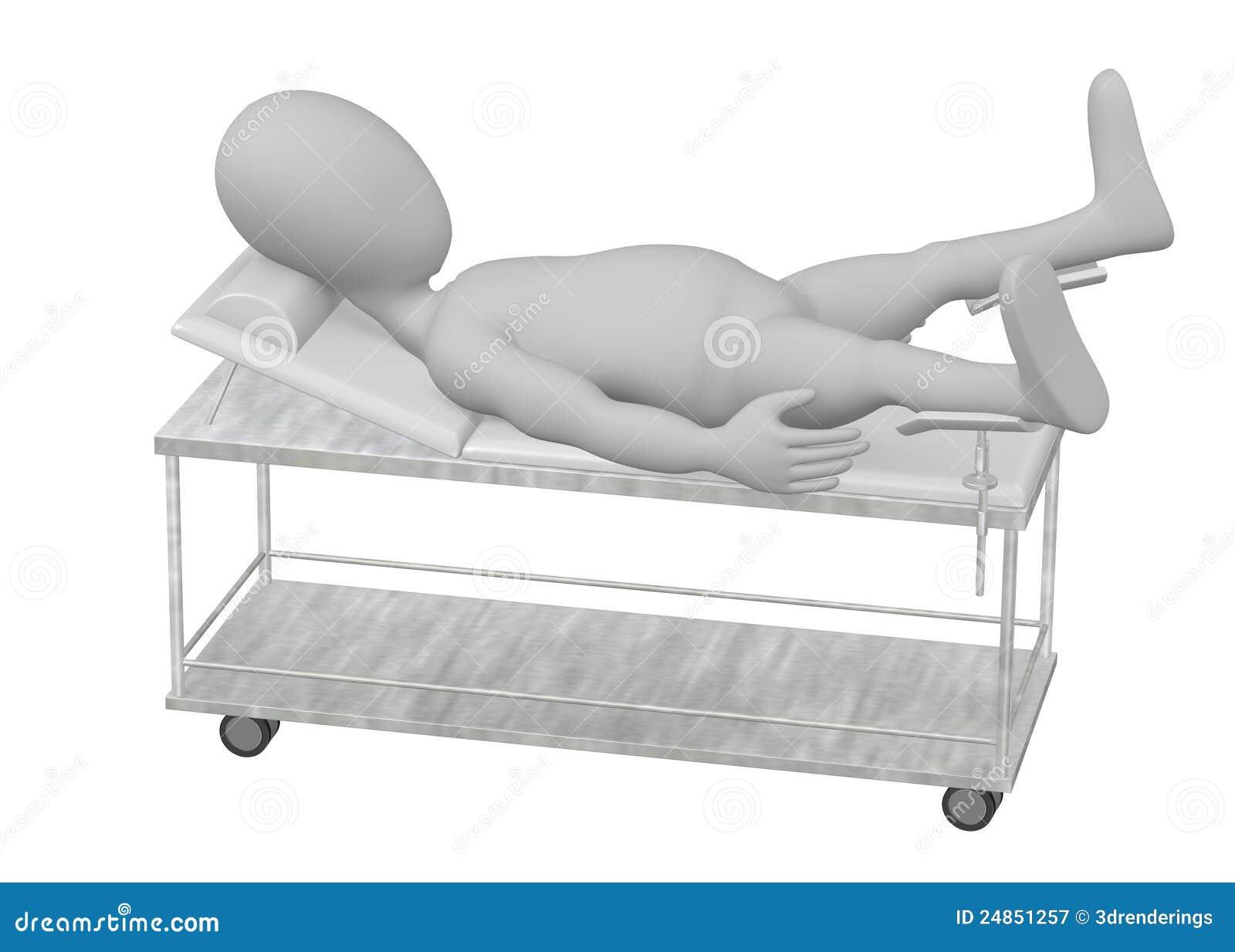 Personaje de dibujos animados en cama de hospital en los for Cama 3d dibujo