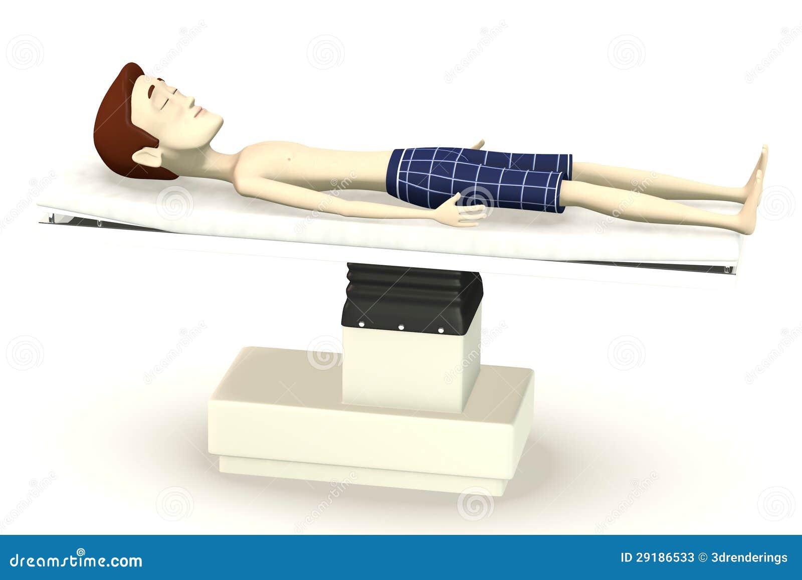 Personaje de dibujos animados en cama de la cirug a fotos for Cama 3d dibujo