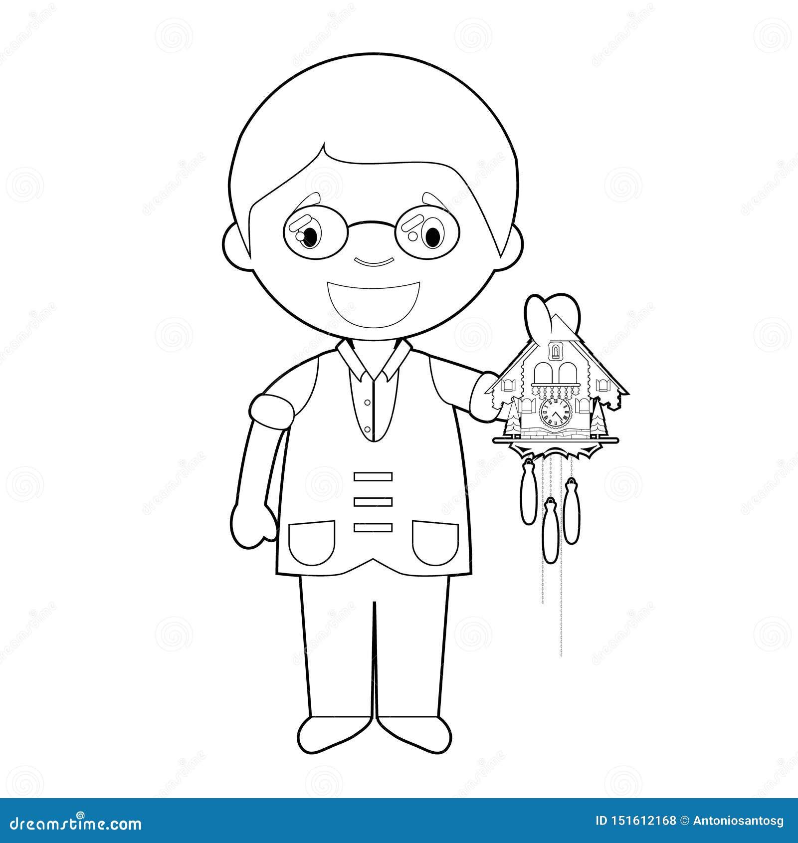 Personaje De Dibujos Animados Facil Del Relojero Que Colorea De