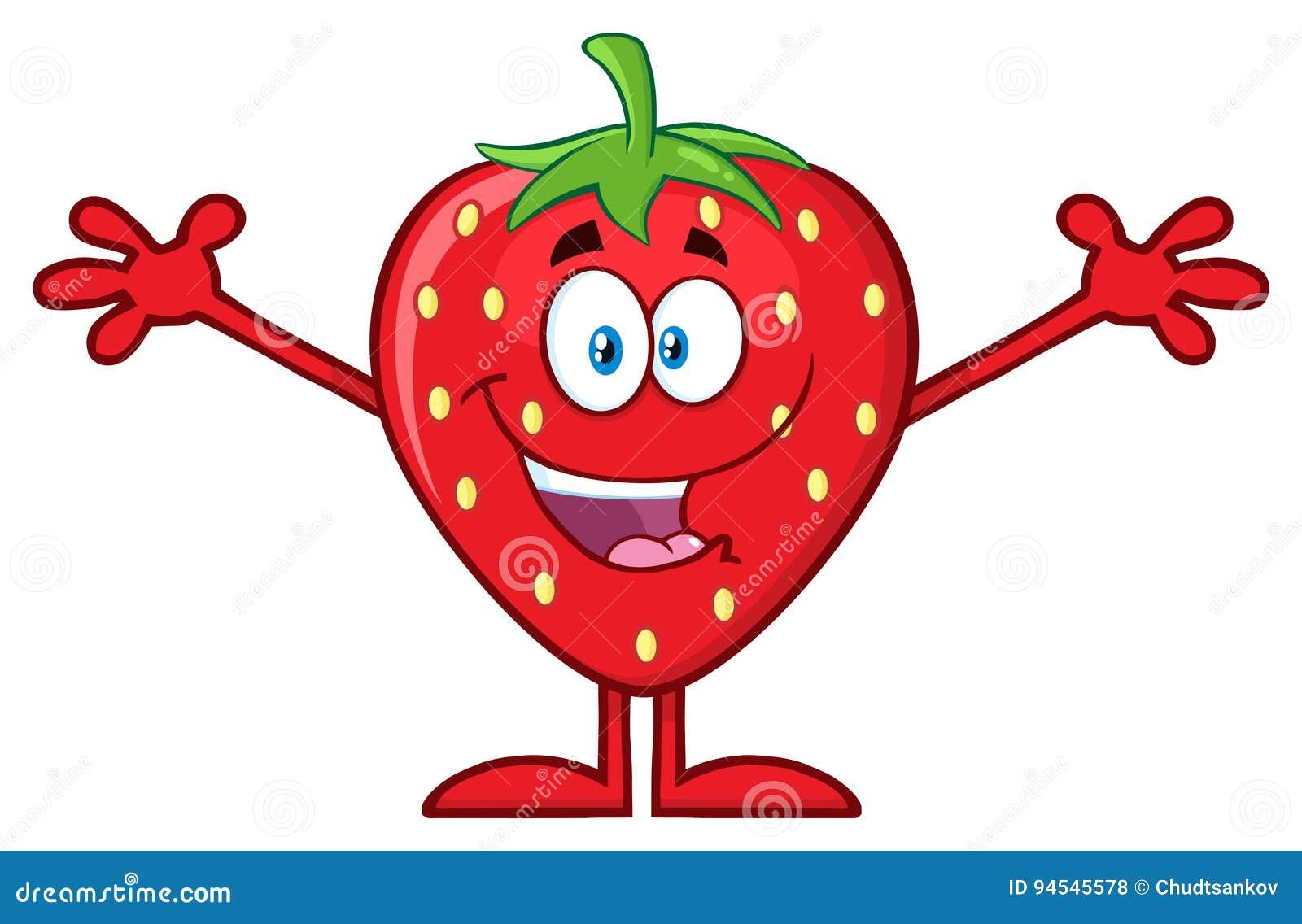 personaje de dibujos animados feliz de la fruta de la fresa con los