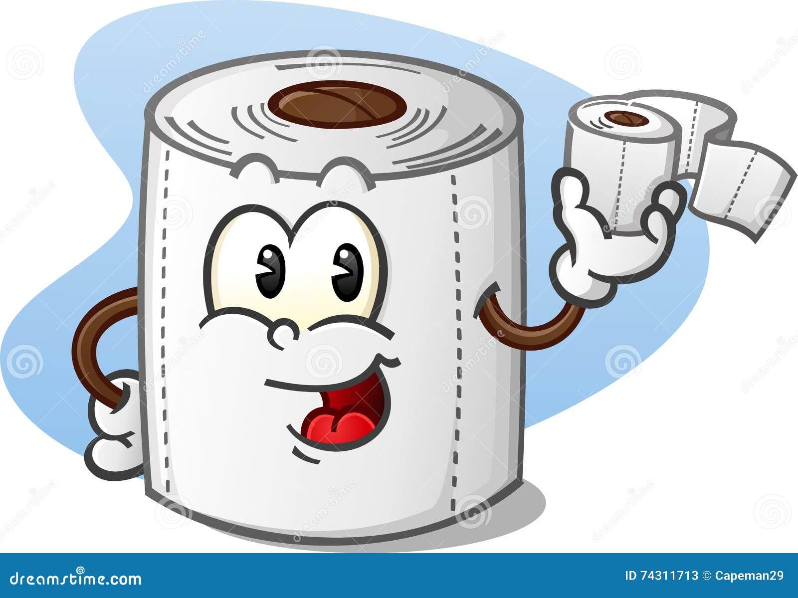 Personaje De Dibujos Animados Feliz Del Papel Higiénico Que Lleva A