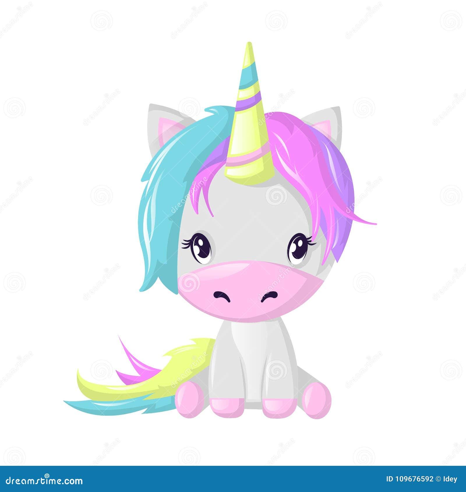 Personaje De Dibujos Animados Ficticio Hermoso Divertido Unicornio