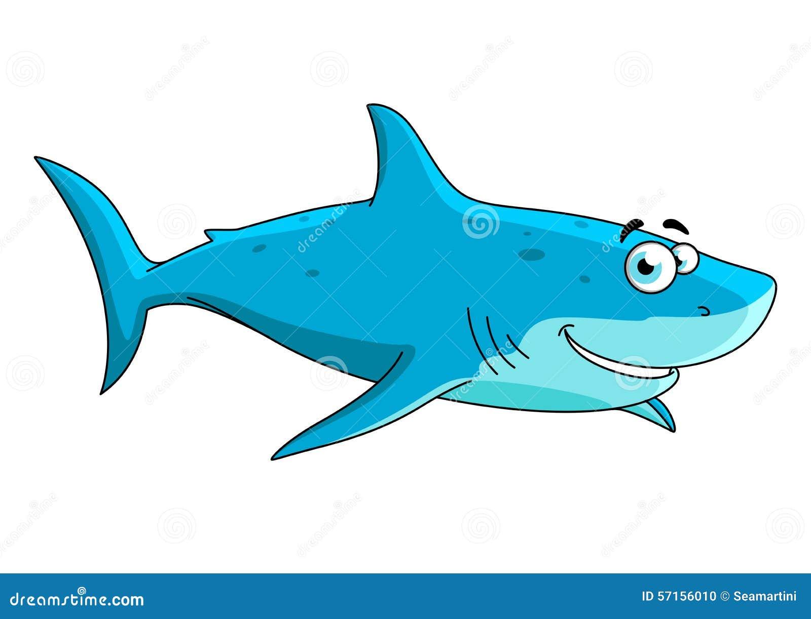 Personaje De Dibujos Animados Grande Del Tiburón Que Nada