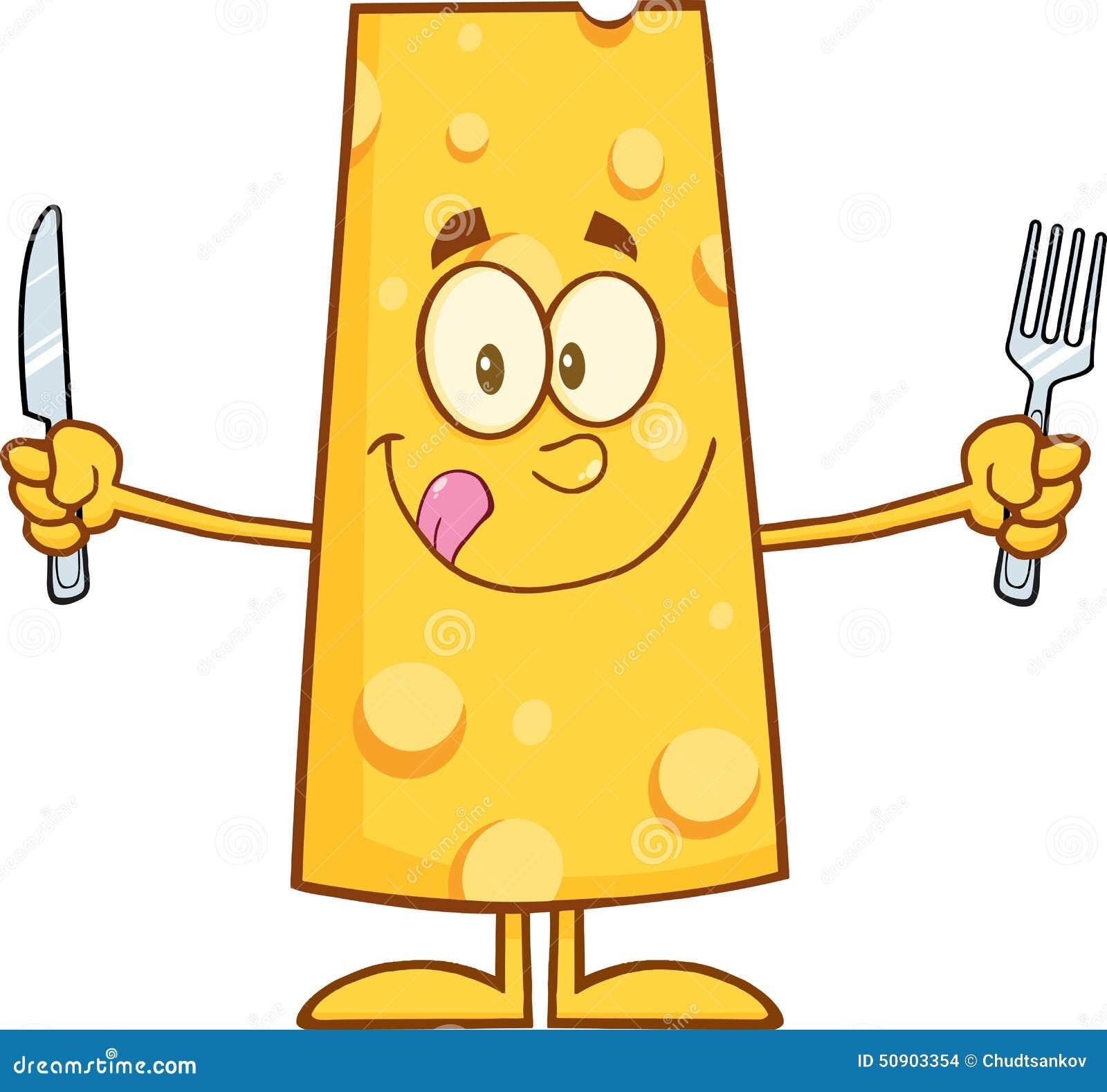 Personaje de dibujos animados hambriento del queso con el cuchillo y la bifurcación
