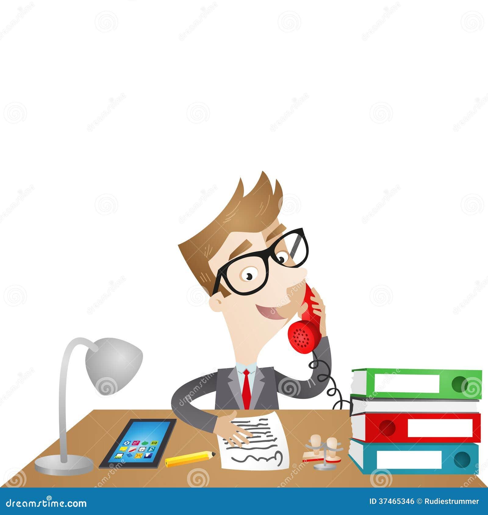 Personaje de dibujos animados hombre de negocios que se for Imagenes de oficina de trabajo