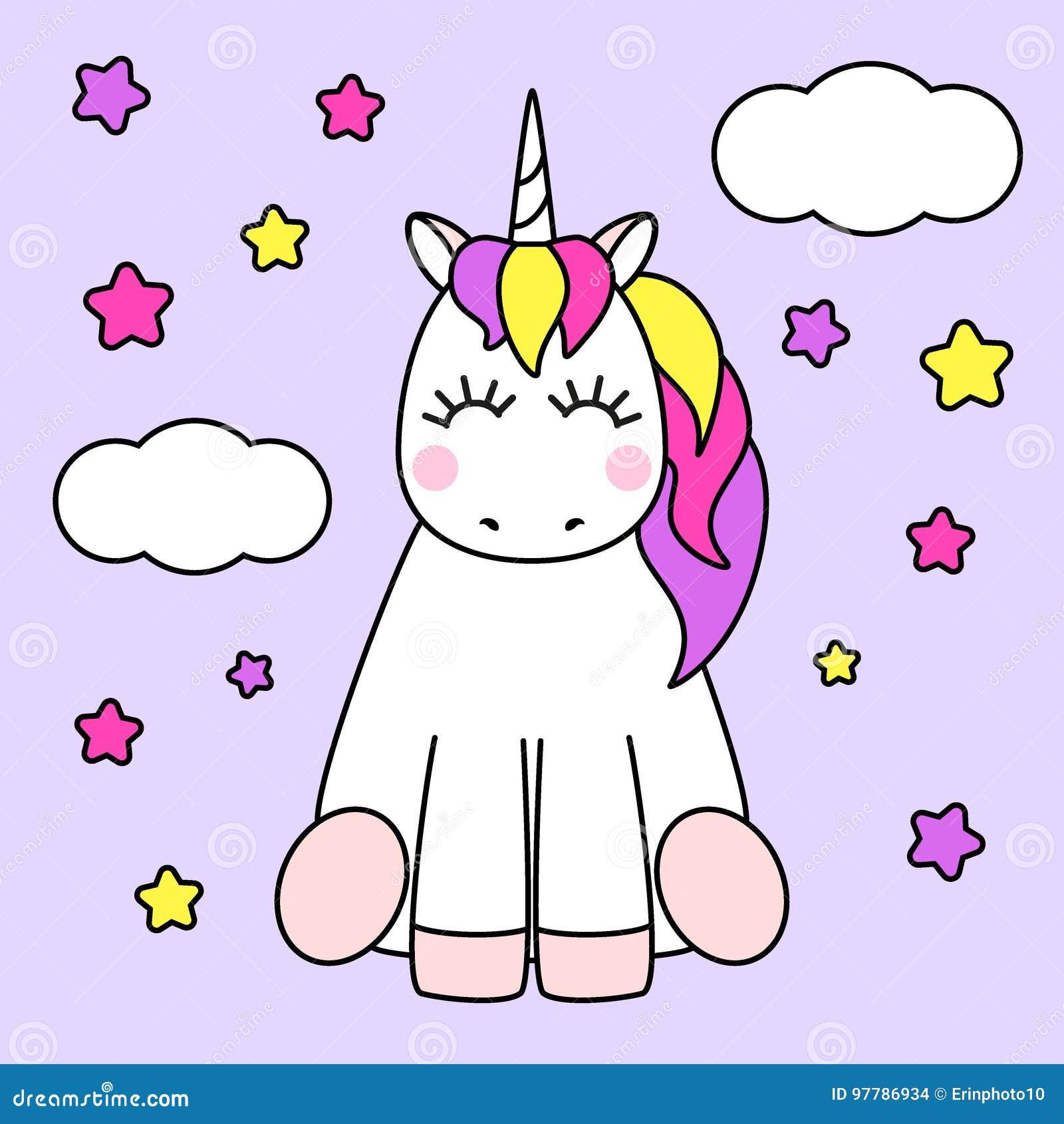 Personaje De Dibujos Animados Infantil Lindo Como Unicornio Magico