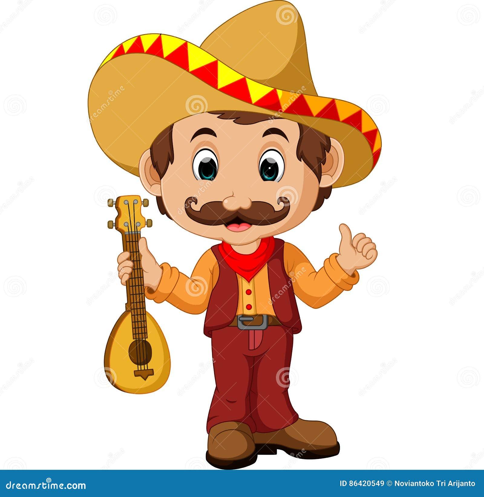 Personaje De Dibujos Animados Mexicano Con La Guitarra Ilustración ... 3eb8de142f6
