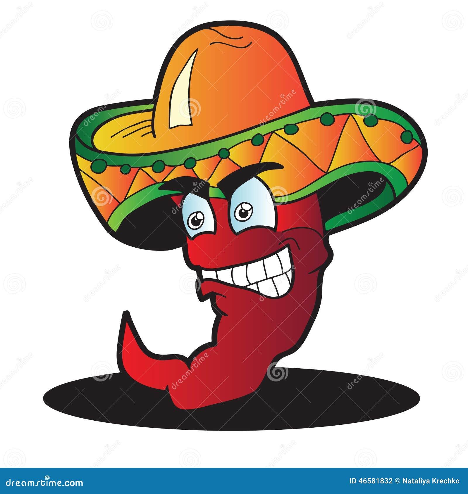 Personaje de dibujos animados mexicano de la pimienta aislado en blanco 1b592f69113