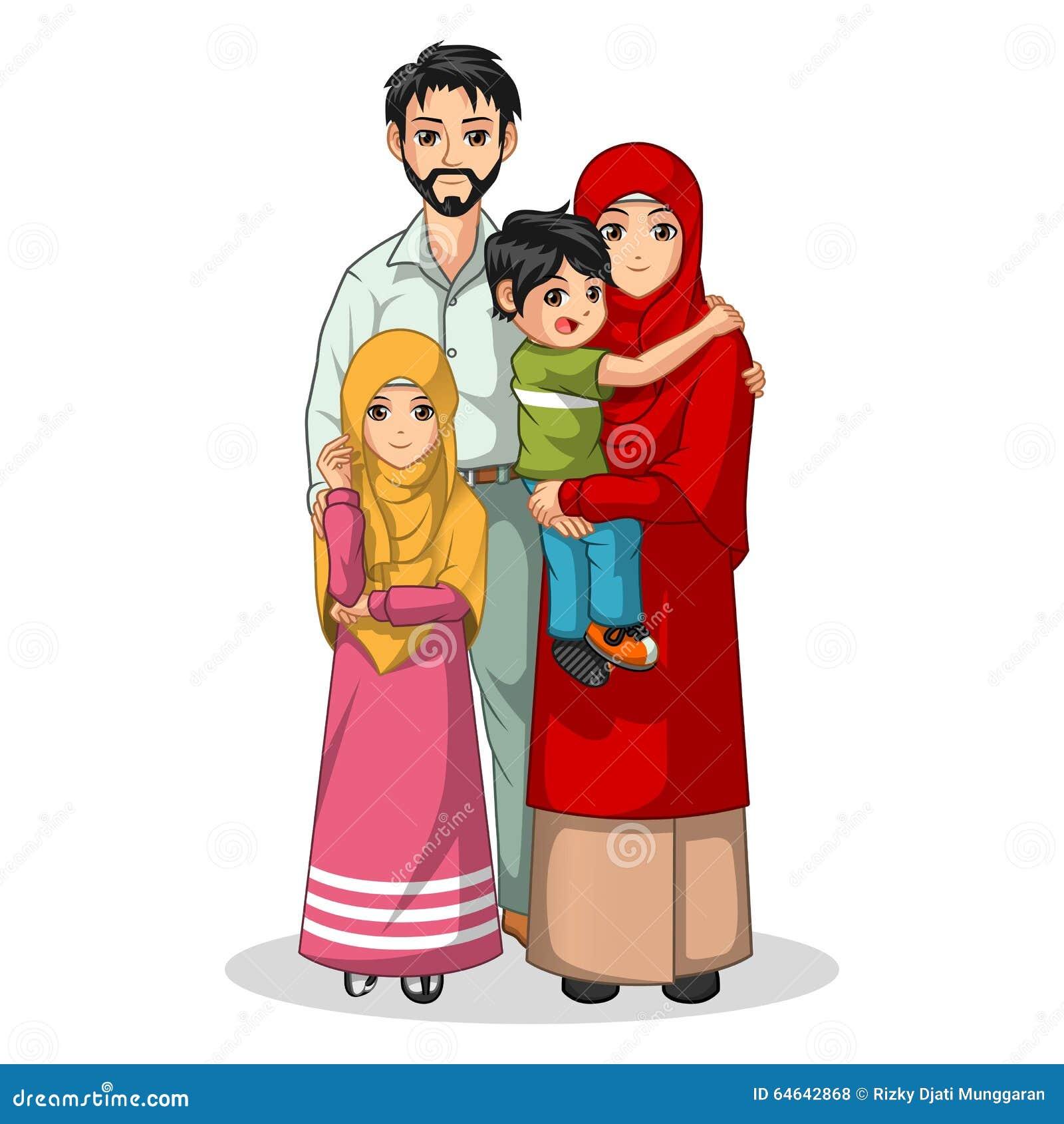 Personaje de dibujos animados musulmán de la familia