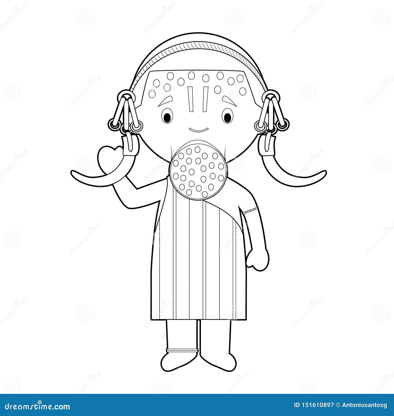 Personaje De Dibujos Animados Que Colorea Facil De La Tribu De