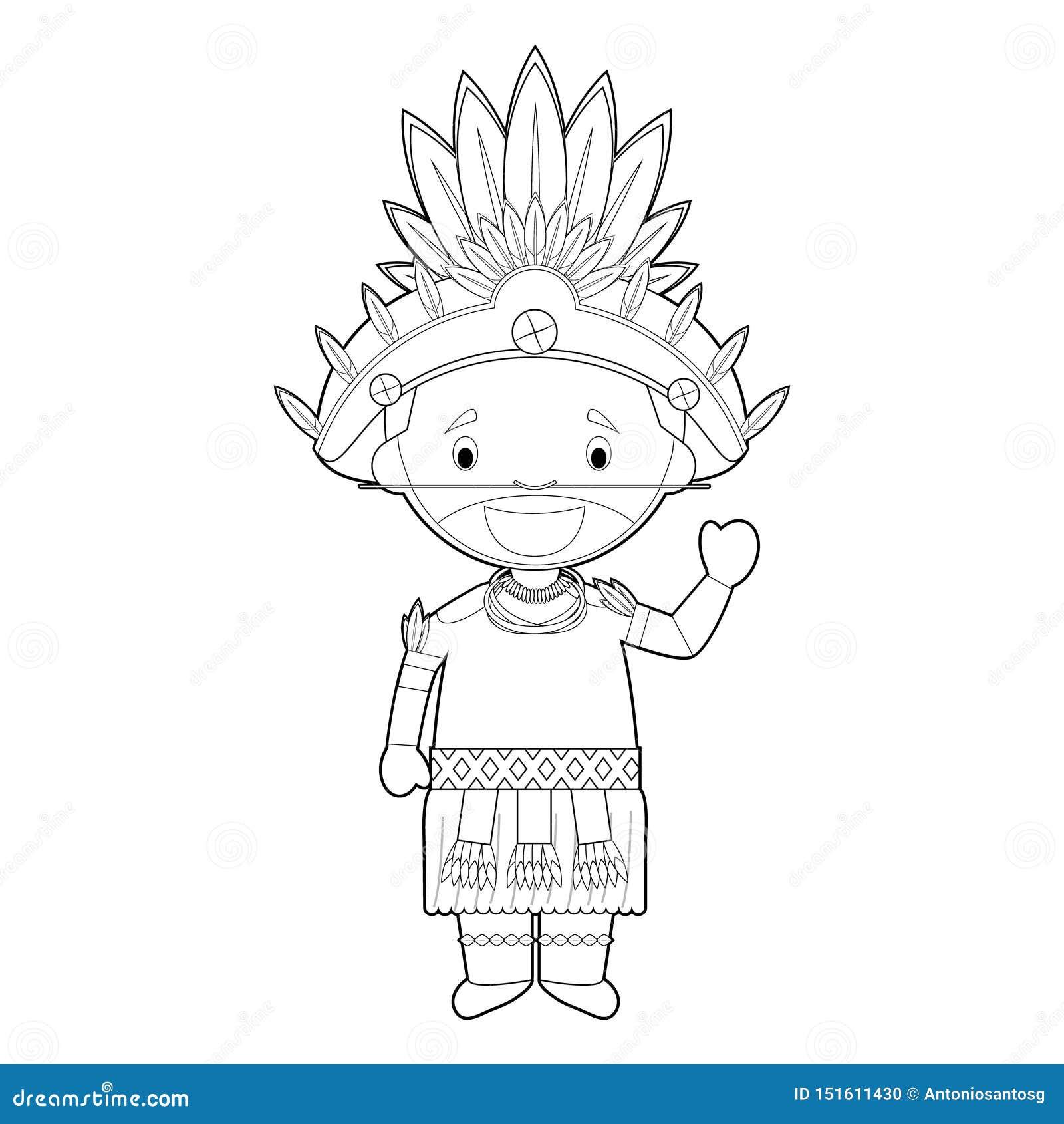 Personaje De Dibujos Animados Que Colorea Facil De Papua Nueva