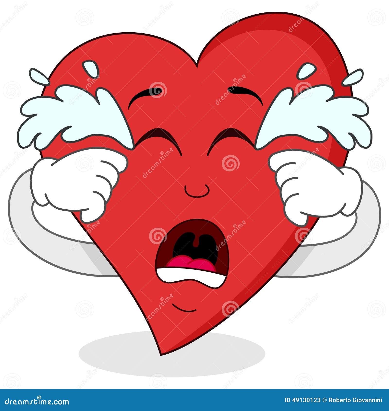 Personaje De Dibujos Animados Rojo Gritador Triste Del Corazón