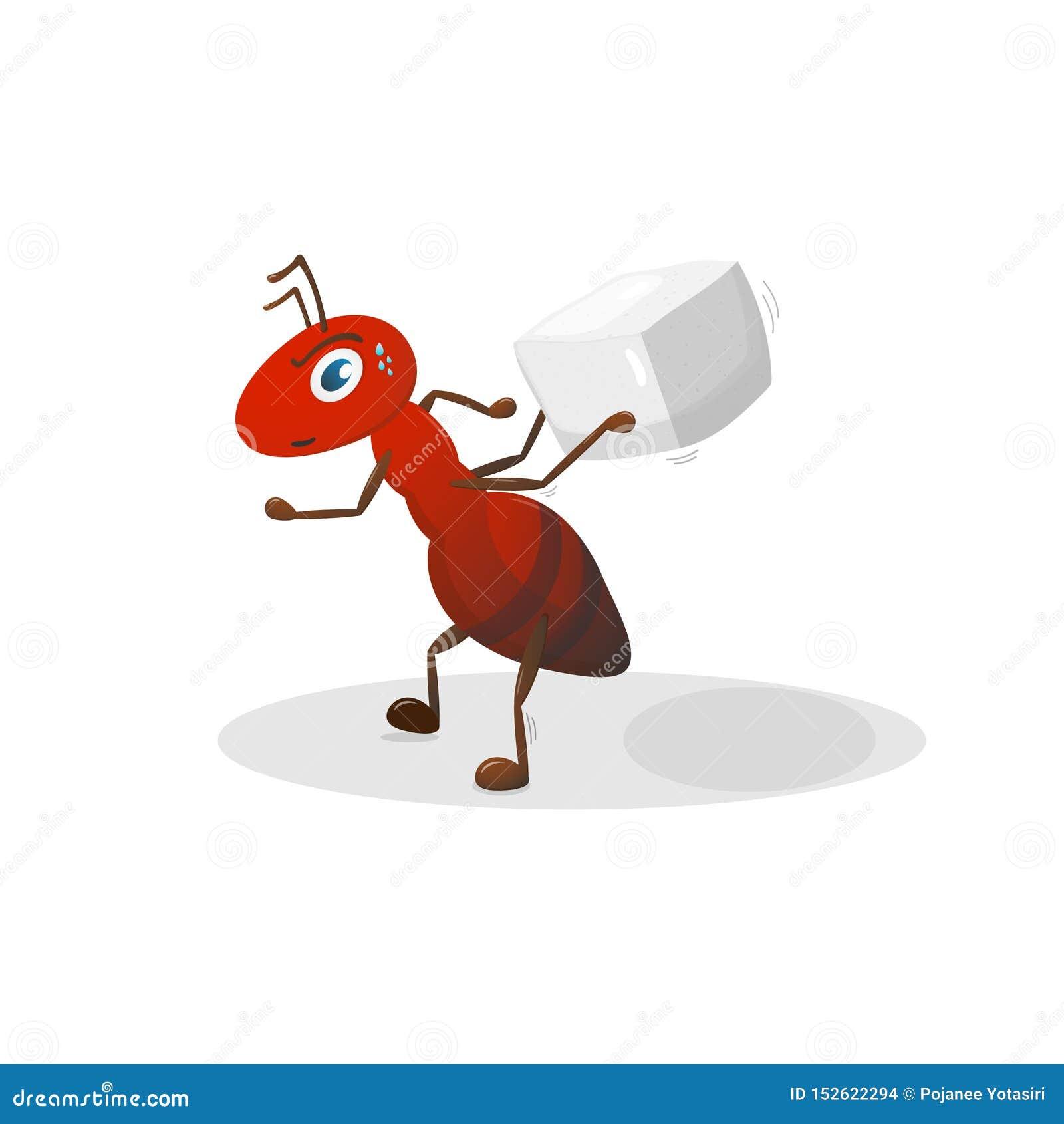 Personaje de dibujos animados rojo de la hormiga objetos en el fondo blanco