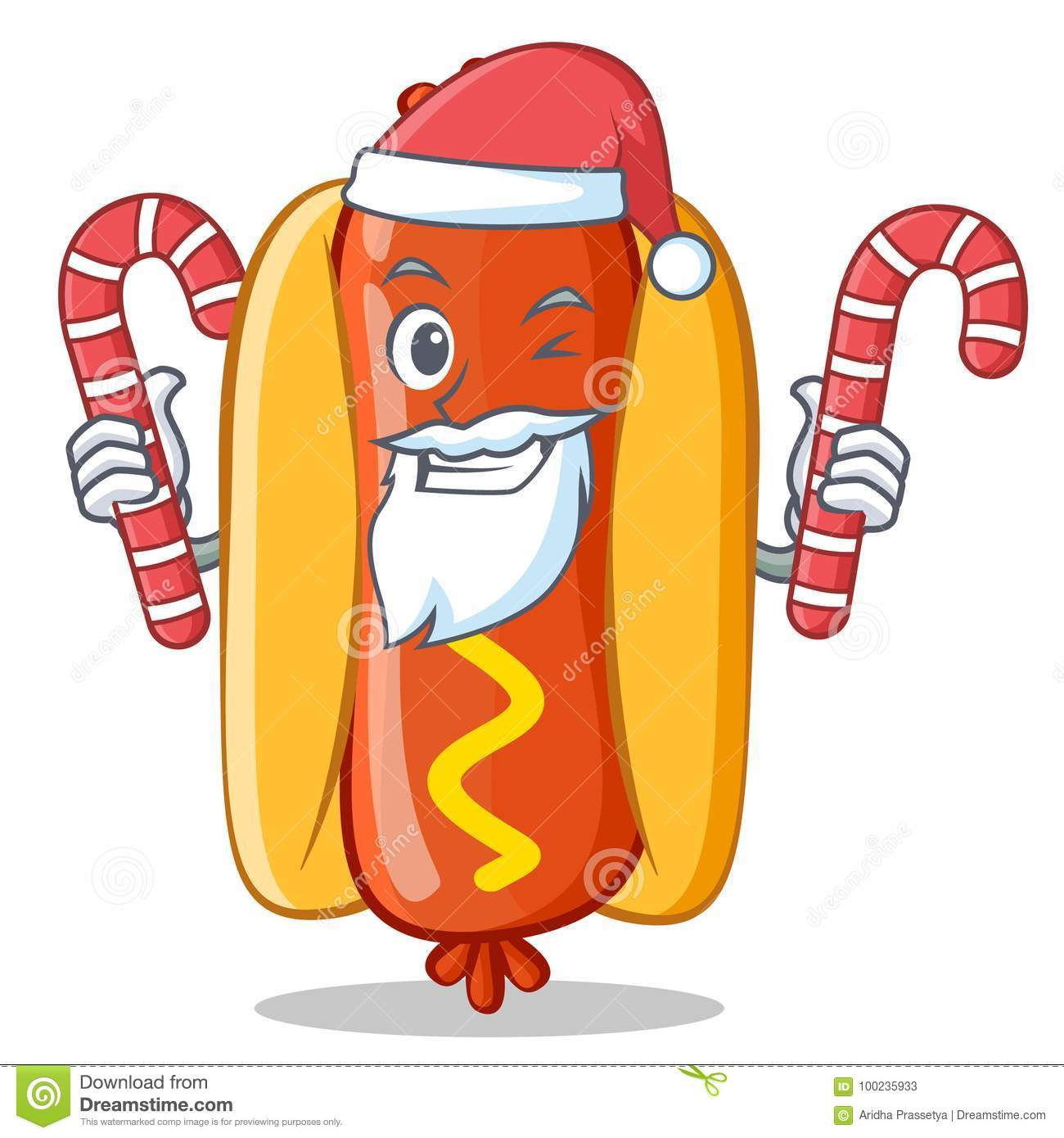 Personaje De Dibujos Animados De Santa With Candy Hot Dog