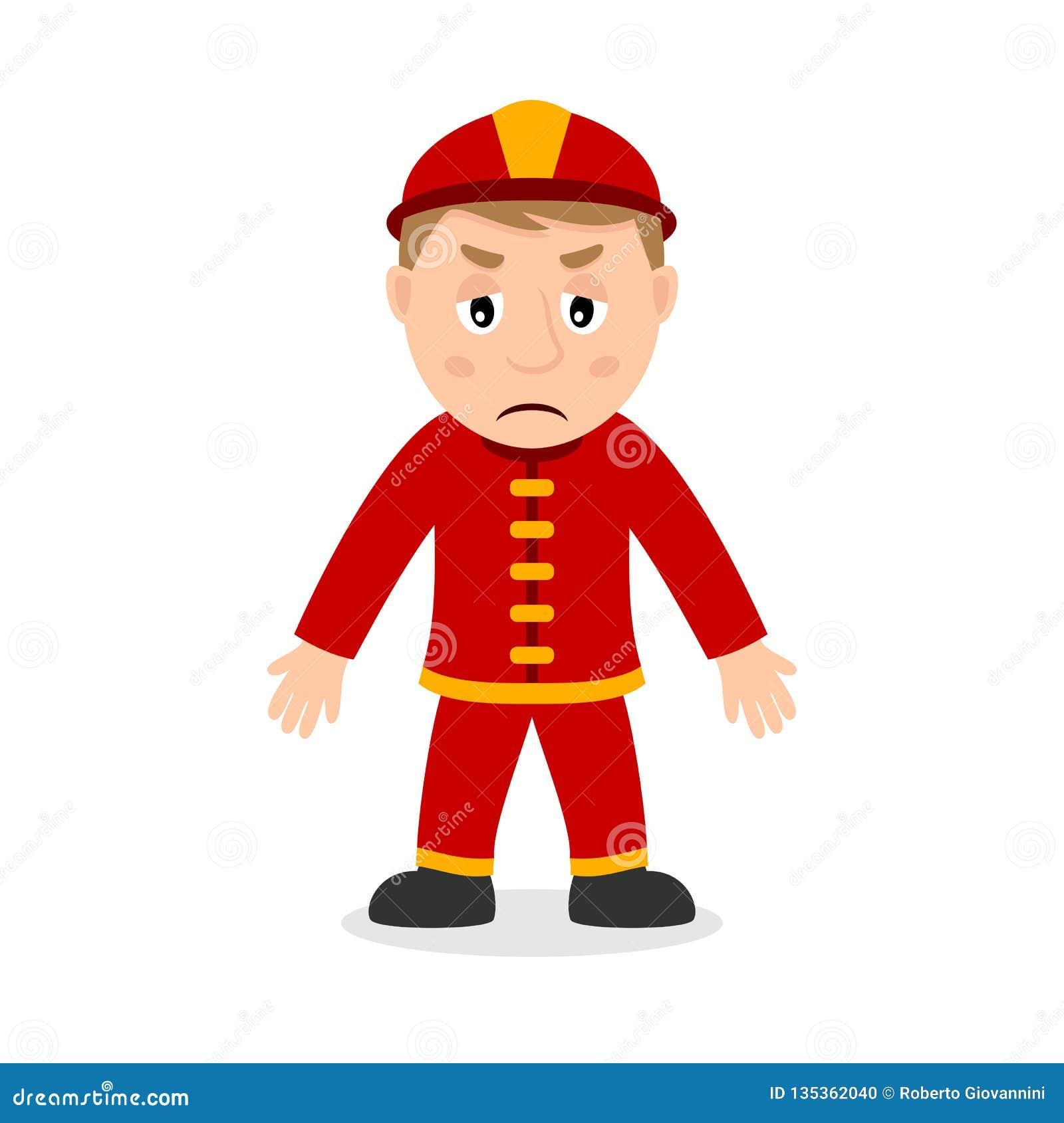 Personaje De Dibujos Animados Triste Del Bombero Ilustración