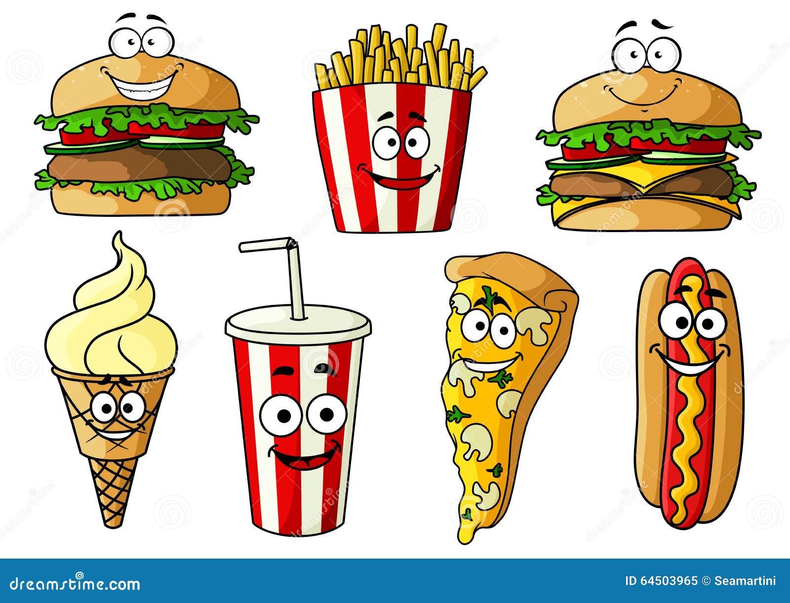 Personajes De Dibujos Animados Aislados De Los Alimentos