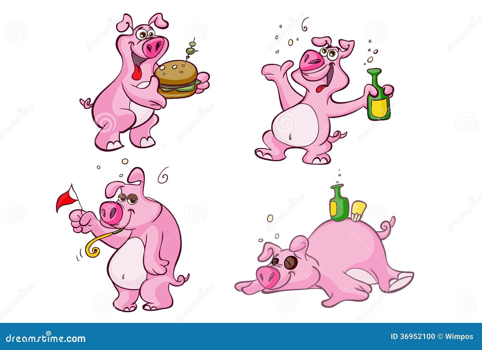 Personajes De Dibujos Animados Borrachos Y Hambrientos Del Cerdo ...