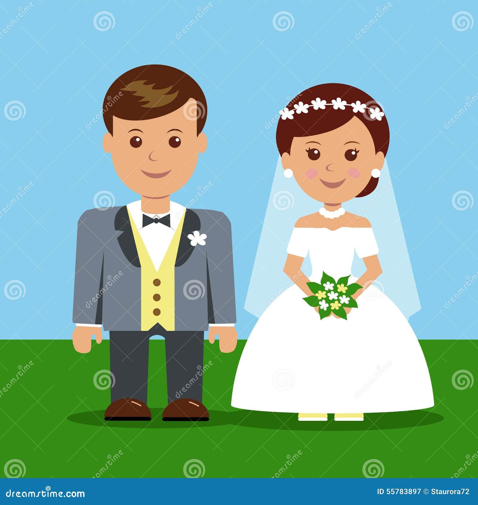 Personajes de dibujos animados de la boda Fotografía de archivo libre de regalías
