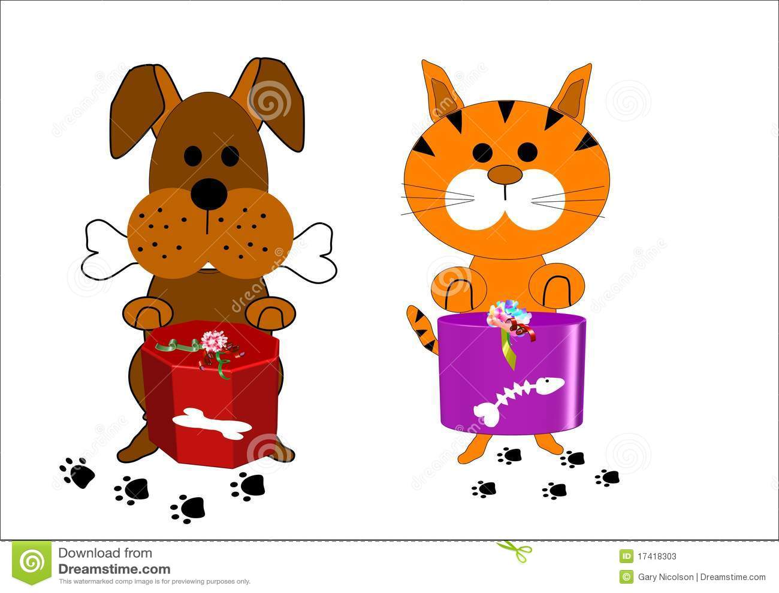 Personajes de dibujos animados del perro y del gato