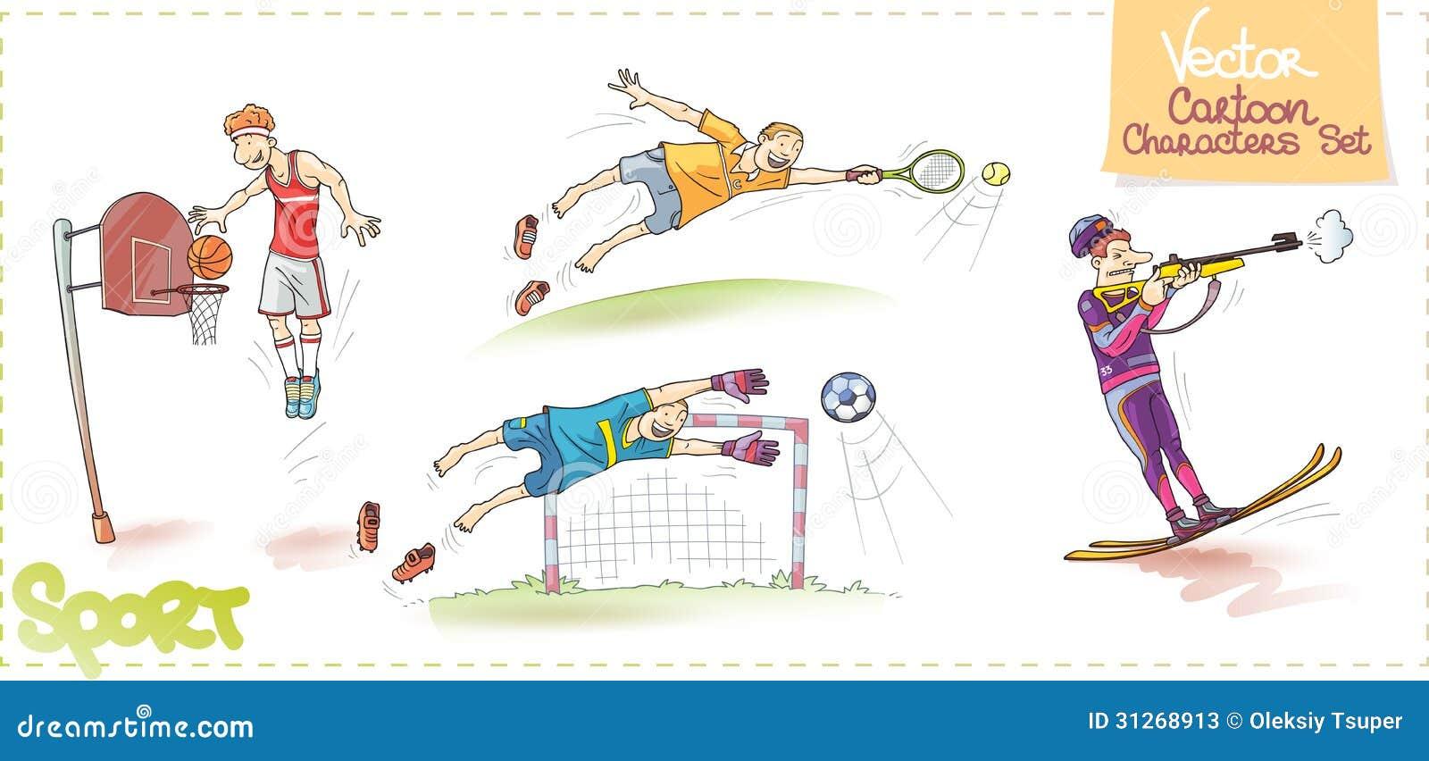 El Portero Del Fútbol Golpeó El Ejemplo Del Vector Del: Personajes De Dibujos Animados Del Vector Fijados: Deporte