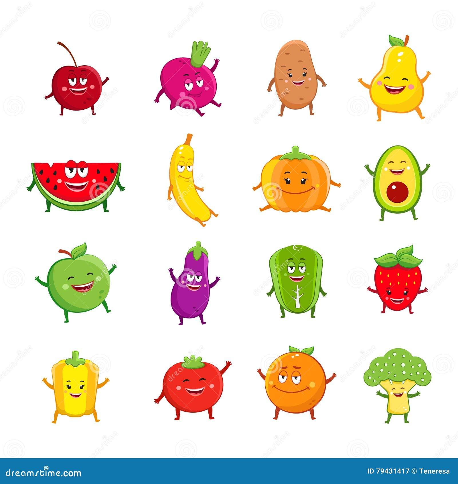 Personajes De Dibujos Animados Divertidos De Las Frutas Y
