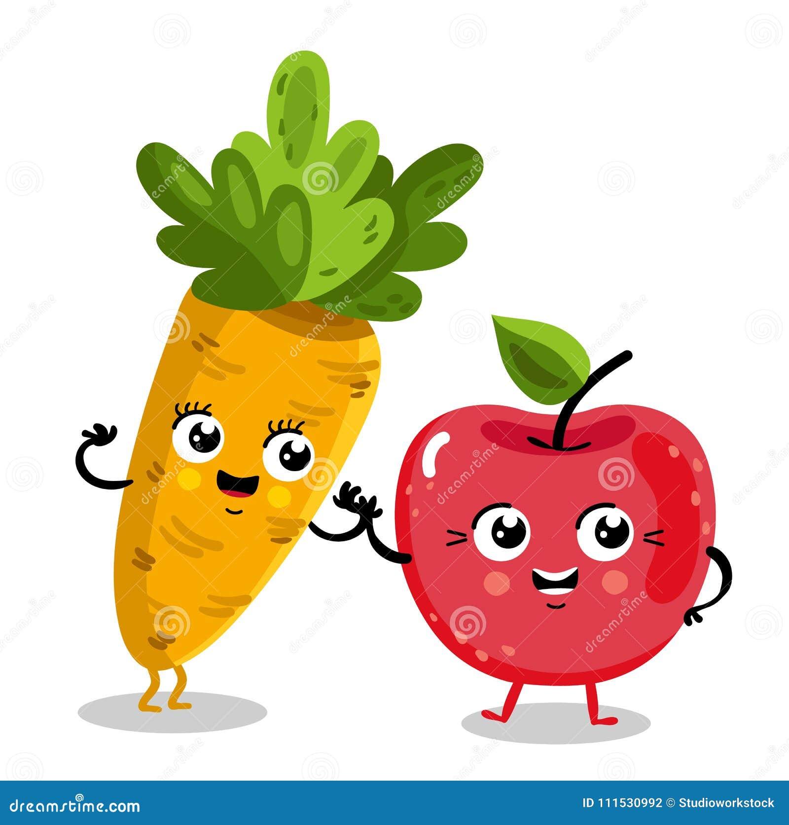 Personajes De Dibujos Animados Divertidos De La Fruta Y