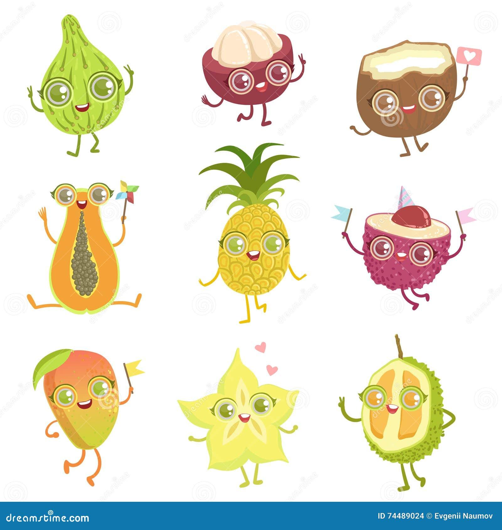 personajes de dibujos animados femeninos de las frutas exóticas