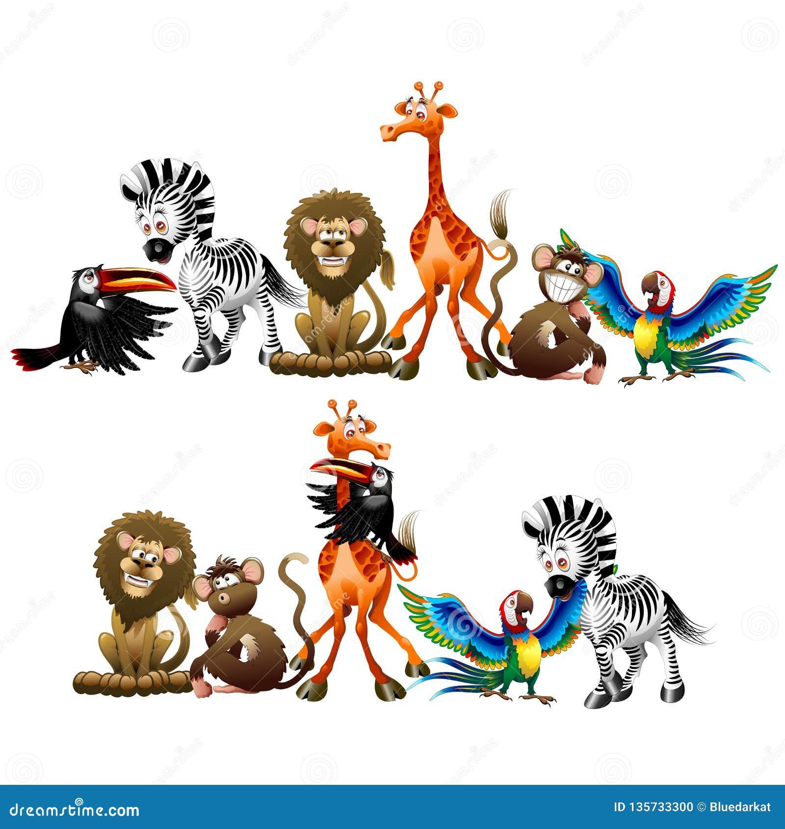 Personajes De Dibujos Animados De Los Animales Salvajes Aislados ...