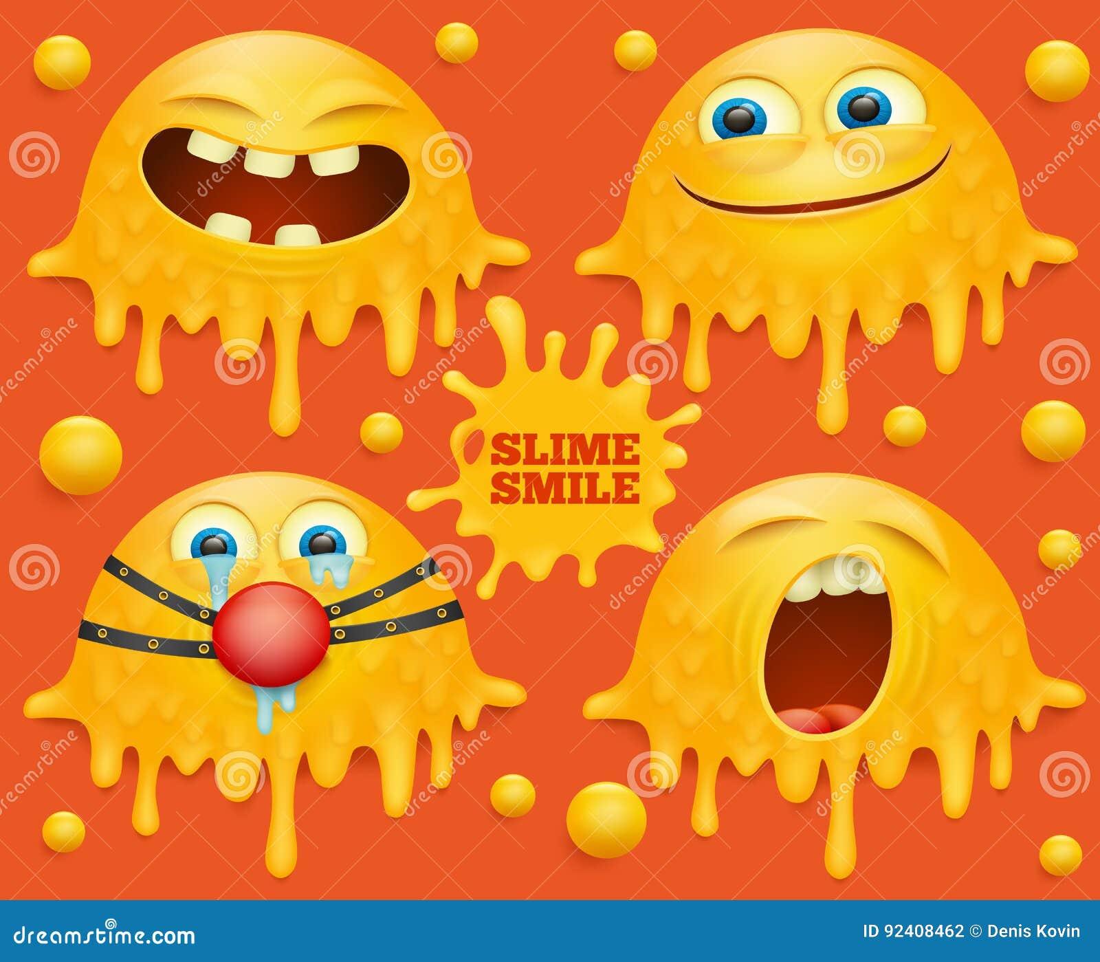 Personajes de dibujos animados sonrientes amarillos de la cara del limo