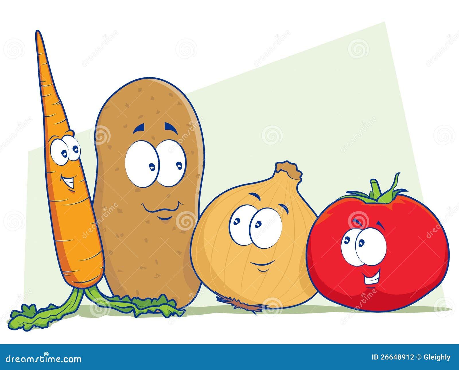 Personajes De Dibujos Animados Vegetales Ilustración Del