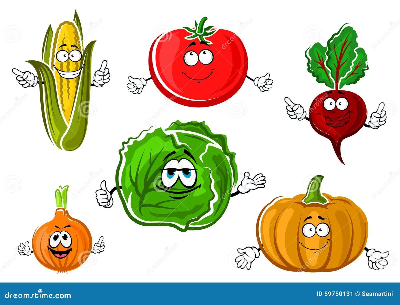 Personajes De Dibujos Animados Vegetales Otoñales Felices