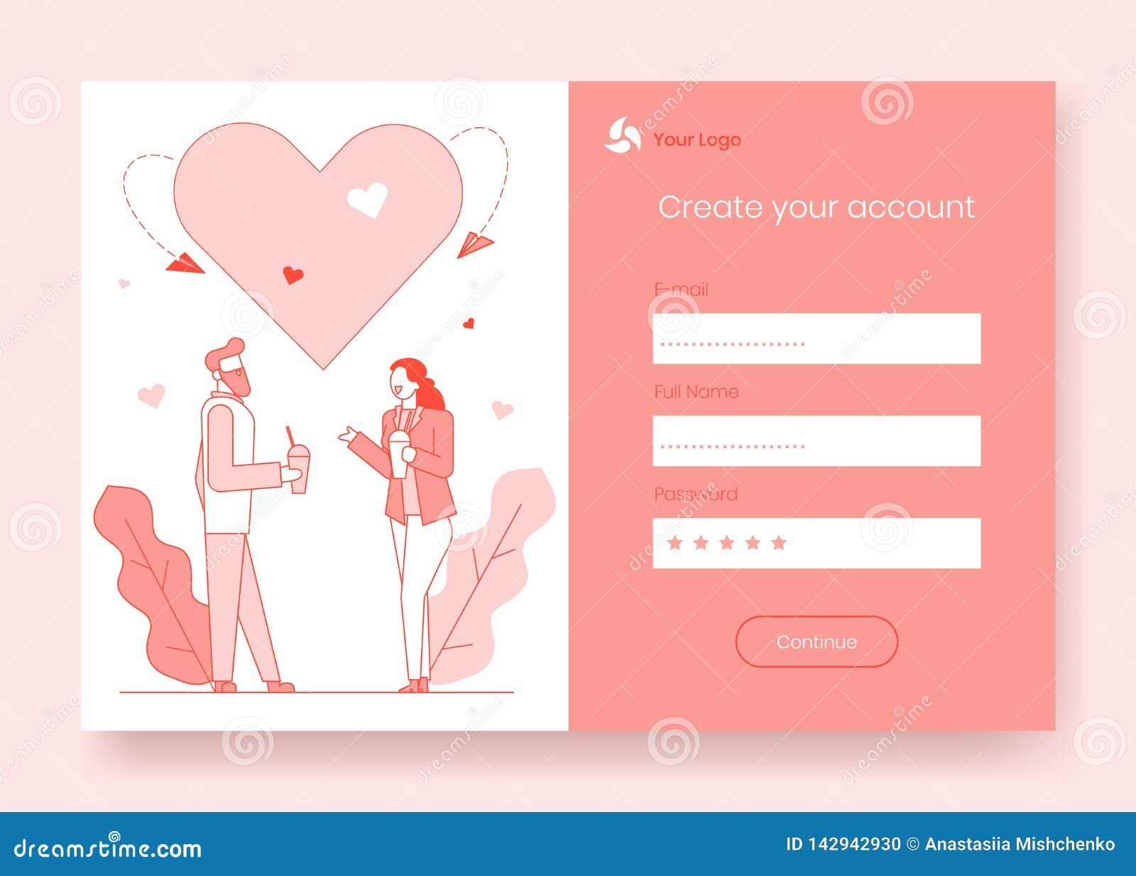 Linea crear cuenta amor en sitio de