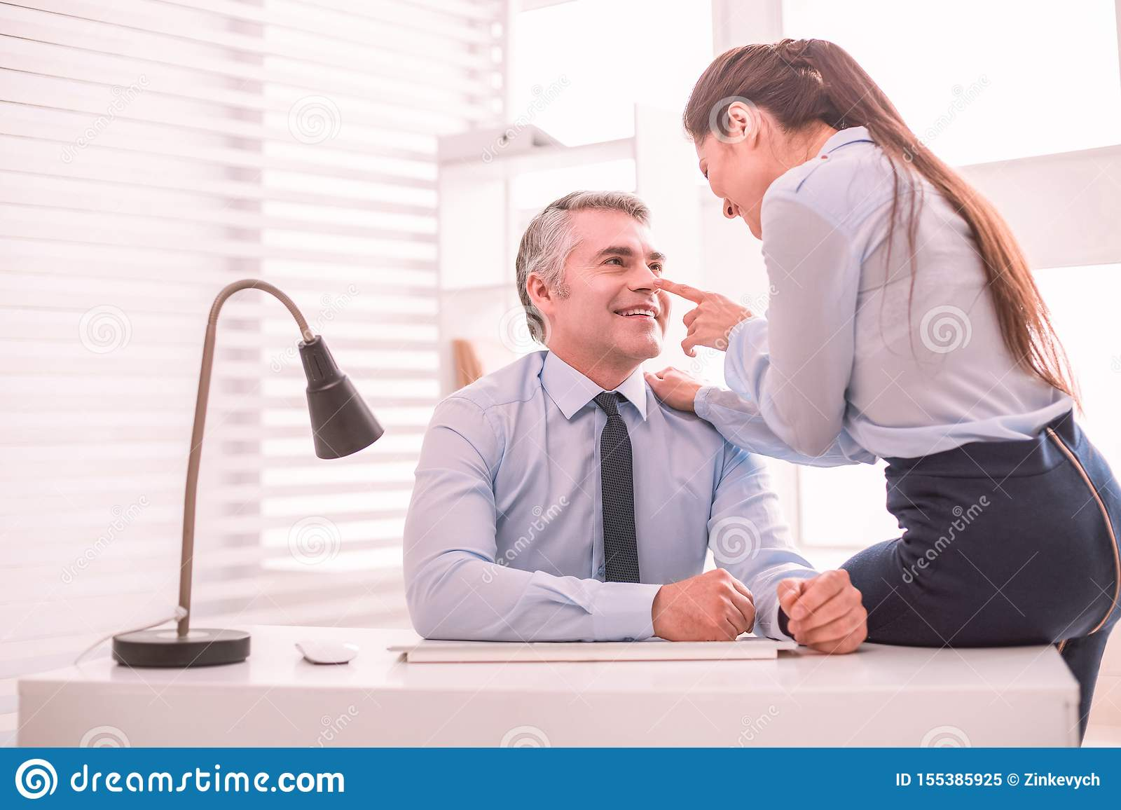 Personal Assistant And Her Boss Flirting At The Workplace Stock Image - Image of dignity, career