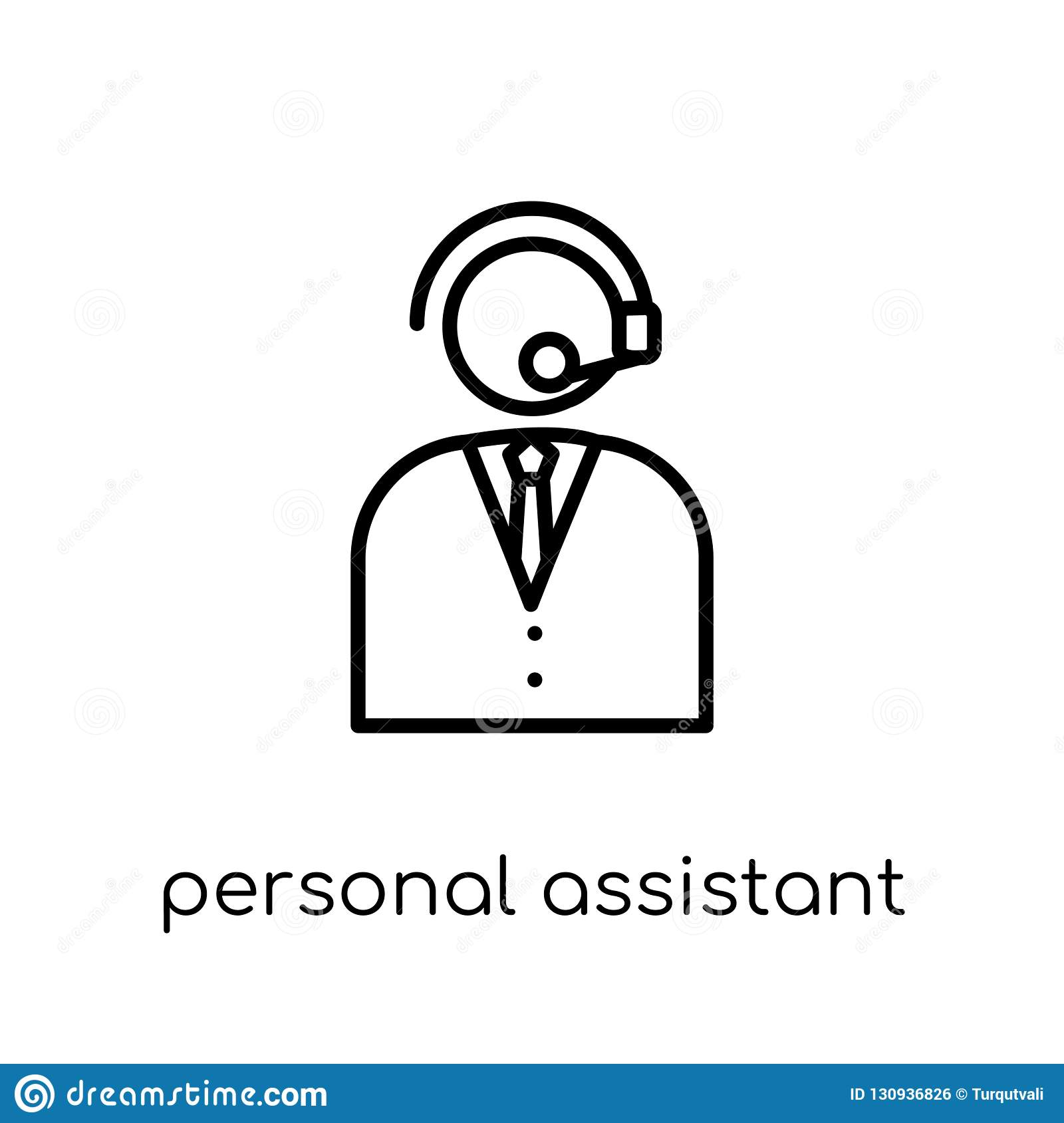Personal assistant icon. Trendy modern flat linear vector Person