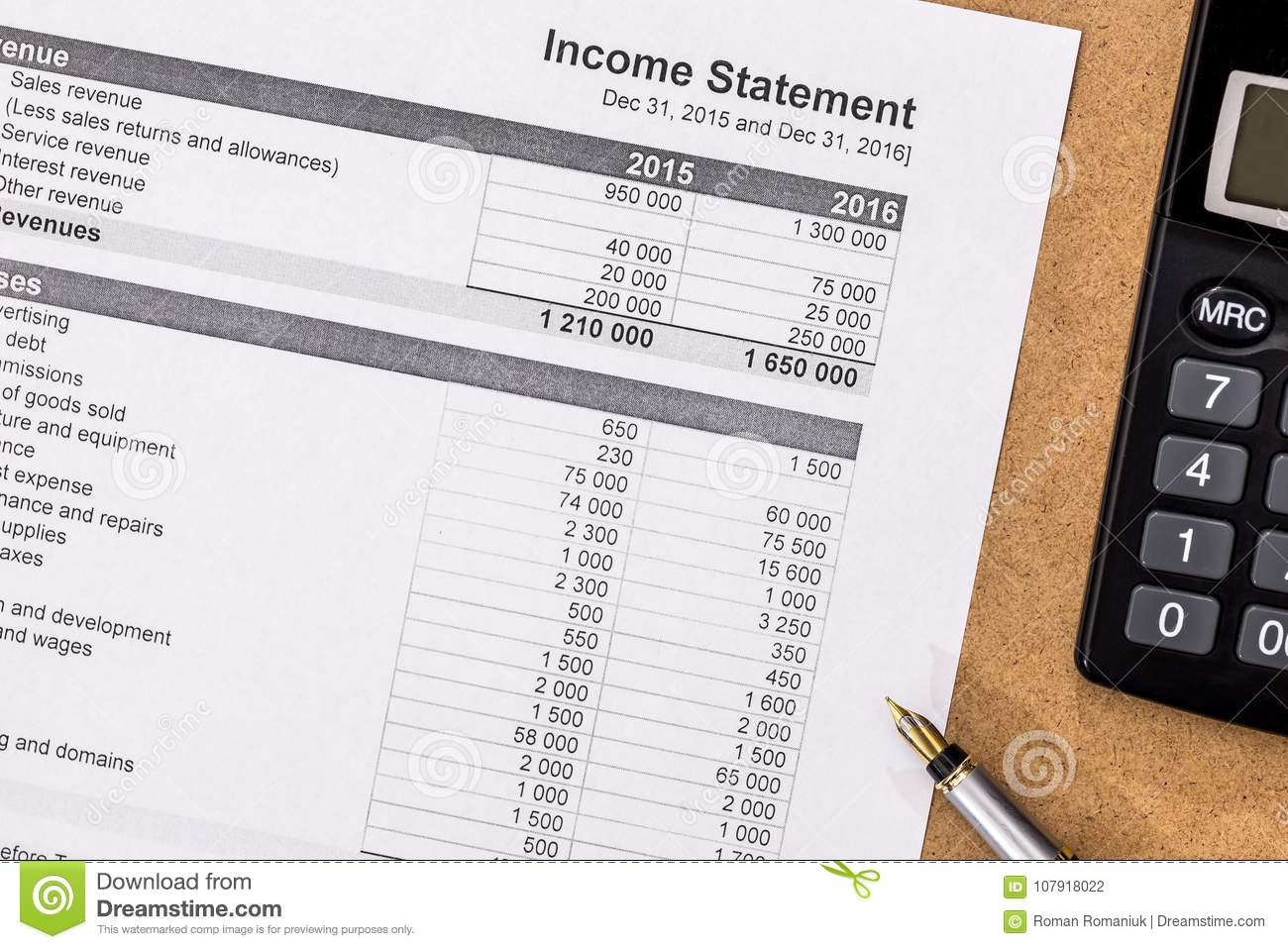 personal budget with pen and calculator stock photo image of list