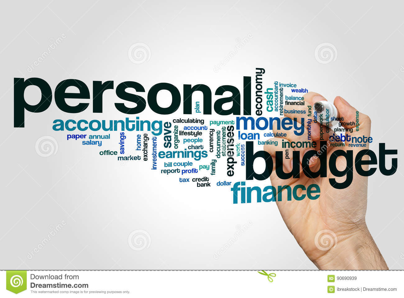 personal budget word cloud stock image image of home 90690939