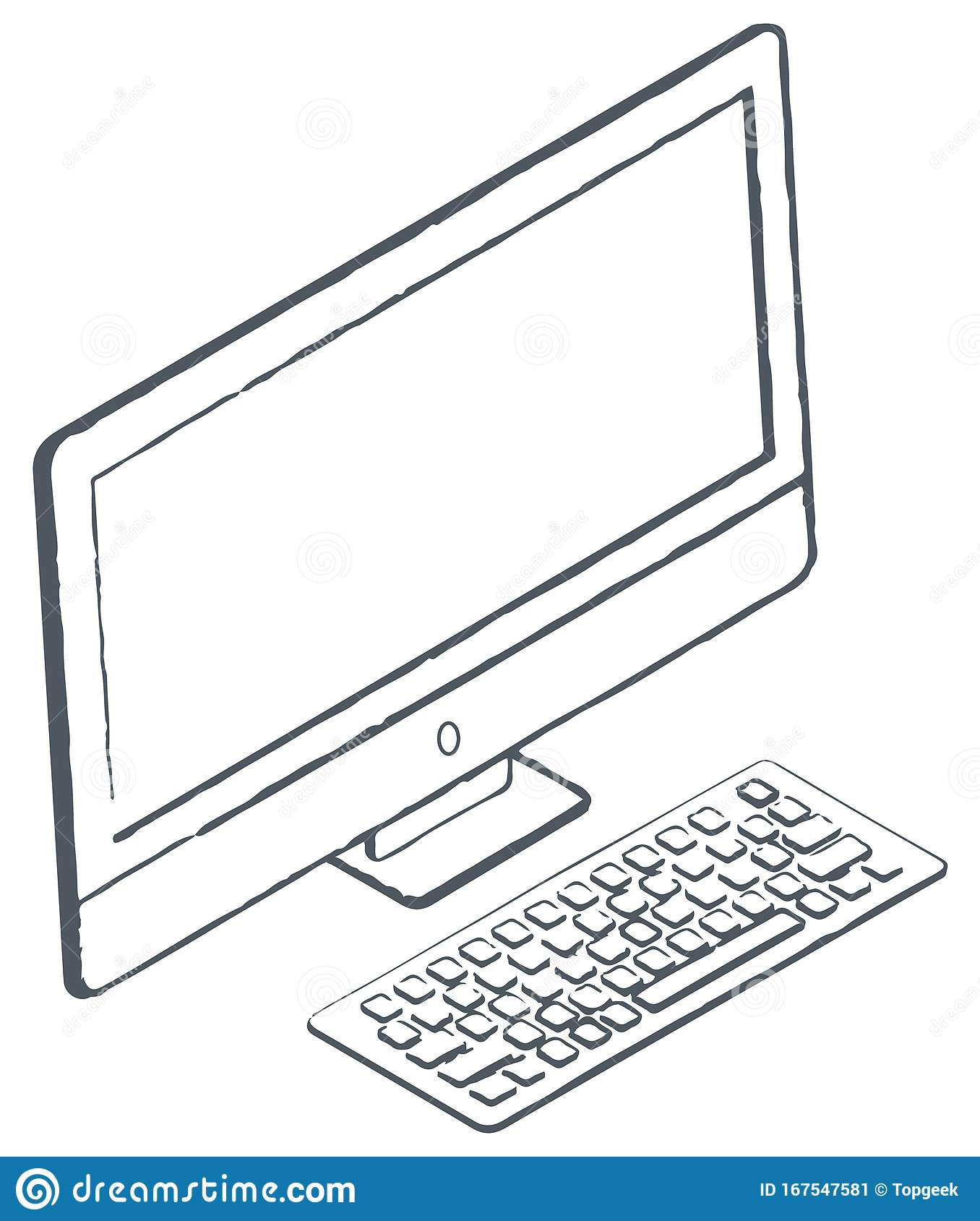 Personal Computer Sketch Monitor And Keyboard Stock Vector Illustration Of Concept Frame 167547581