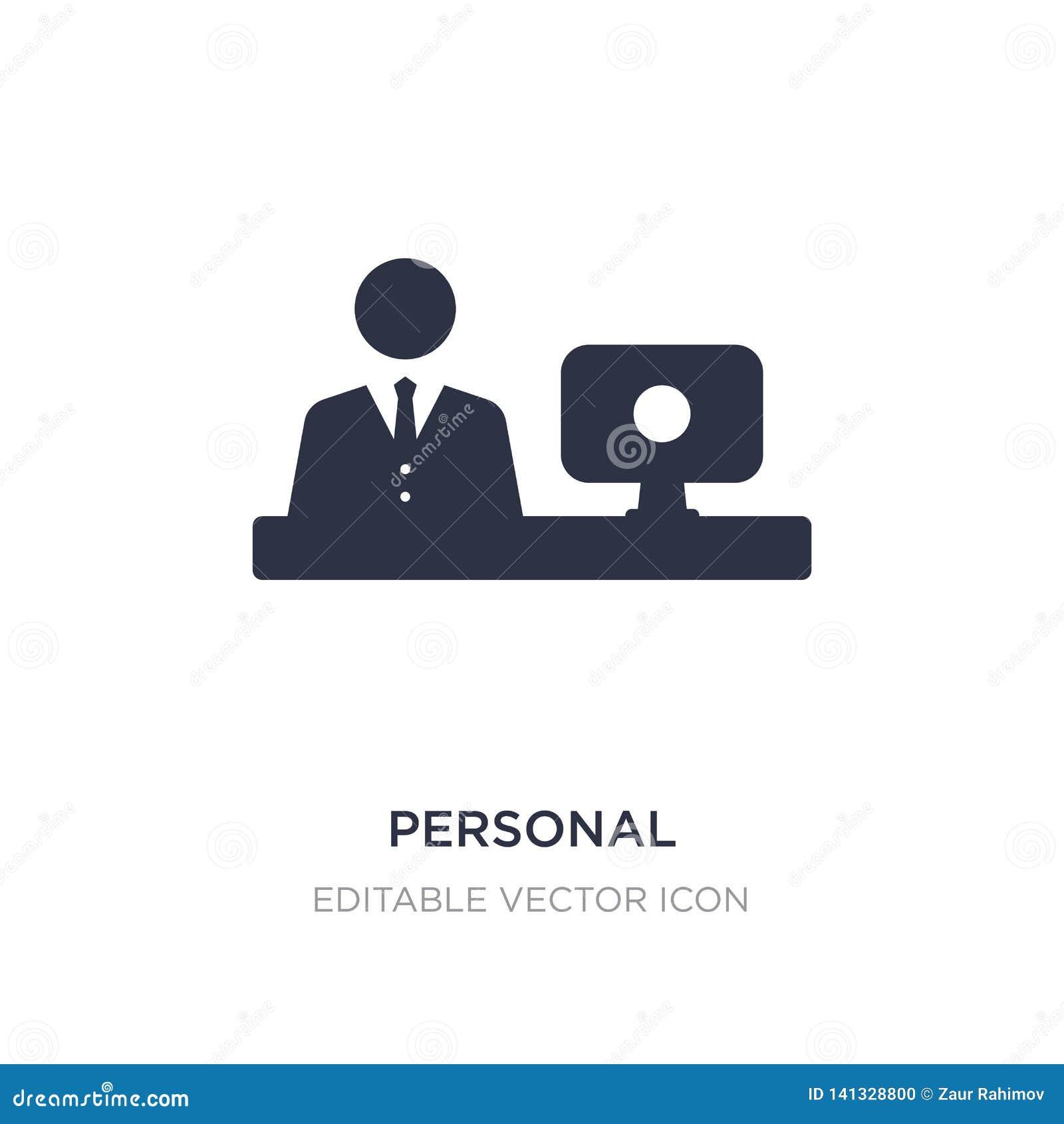 Personal-Computer- und Arbeitskraftikone auf weißem Hintergrund Einfache Elementillustration vom Computerkonzept