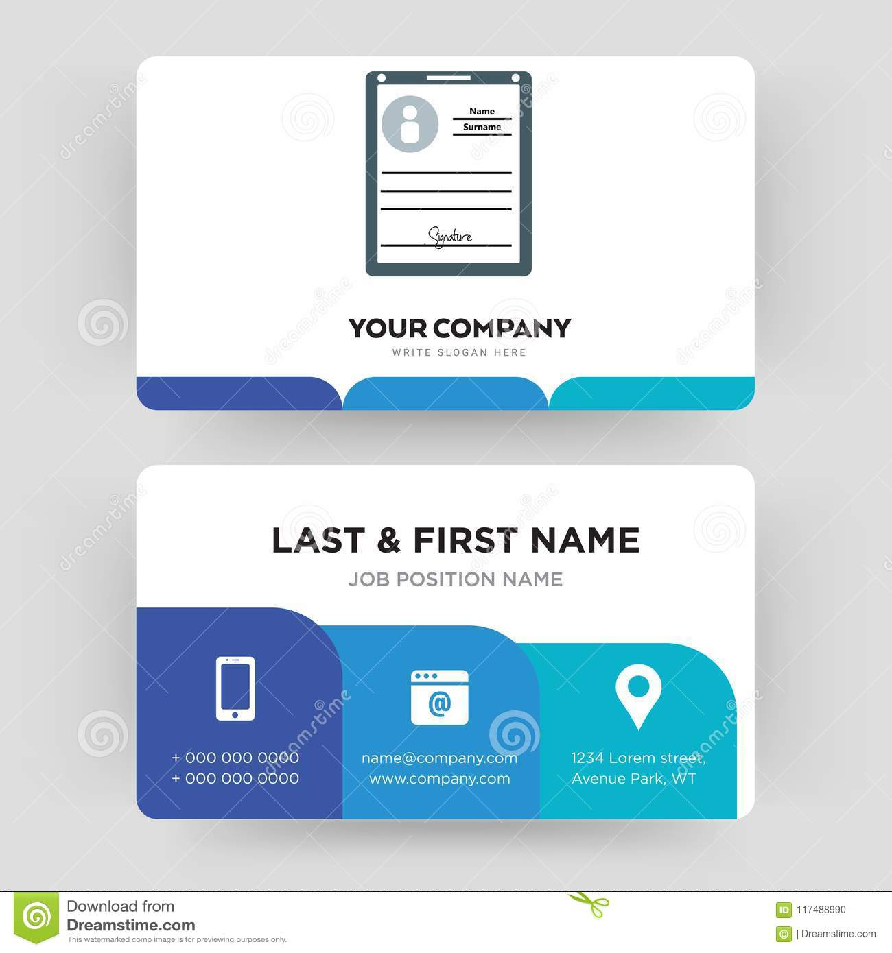 Personal Details Business Card Design Template Visiting For Your Company