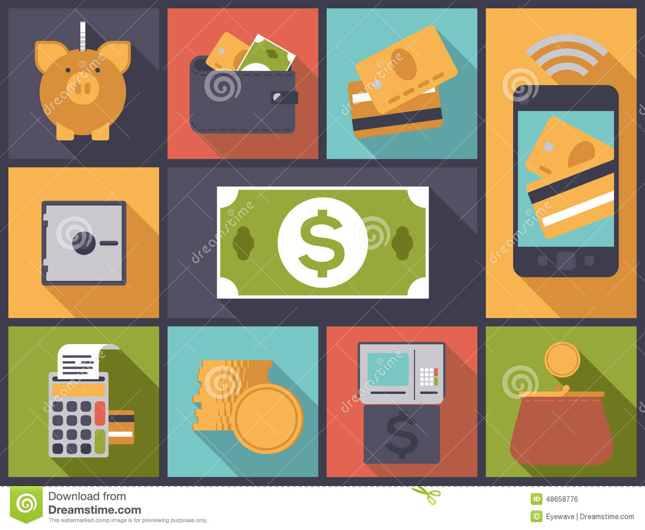 finance personal icons vector illustration flat money business alamy teal text vectors preview collection