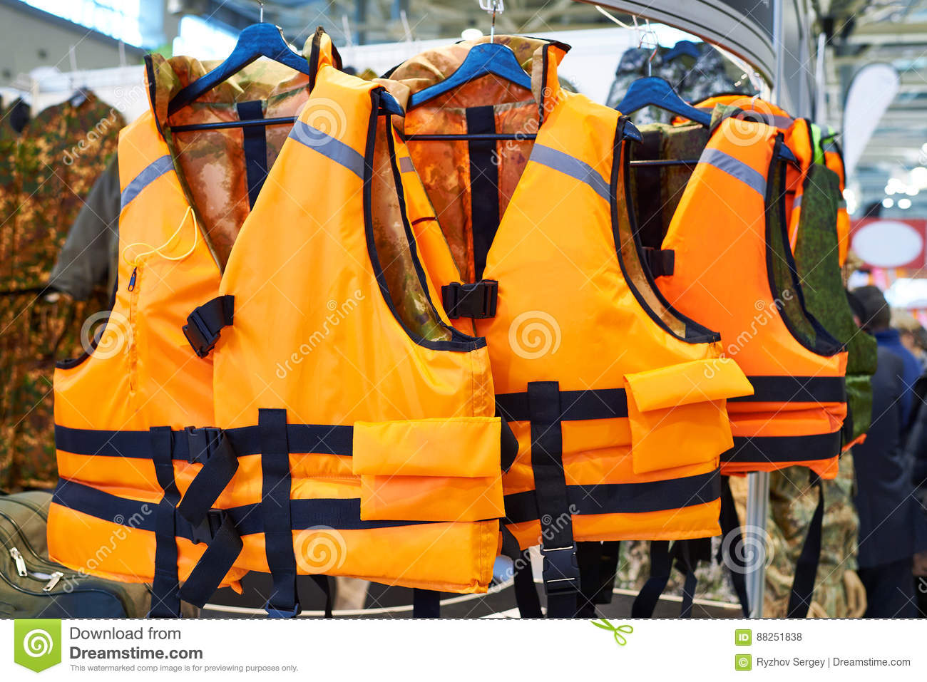 Personal flotation device as life jacket in store