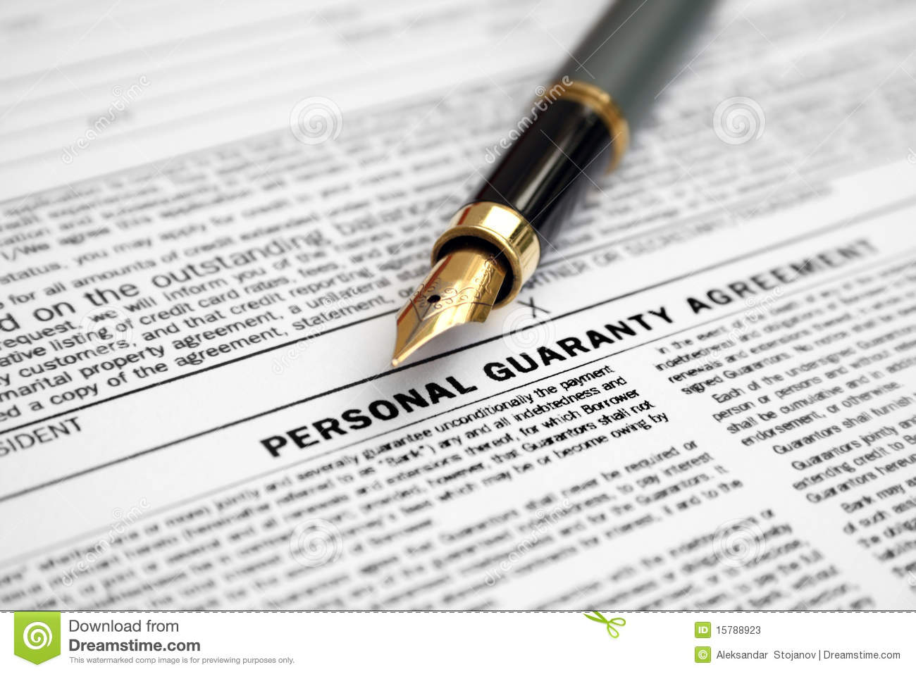 Personal Guaranty Agreement Stock Image Image Of Sign Occupation