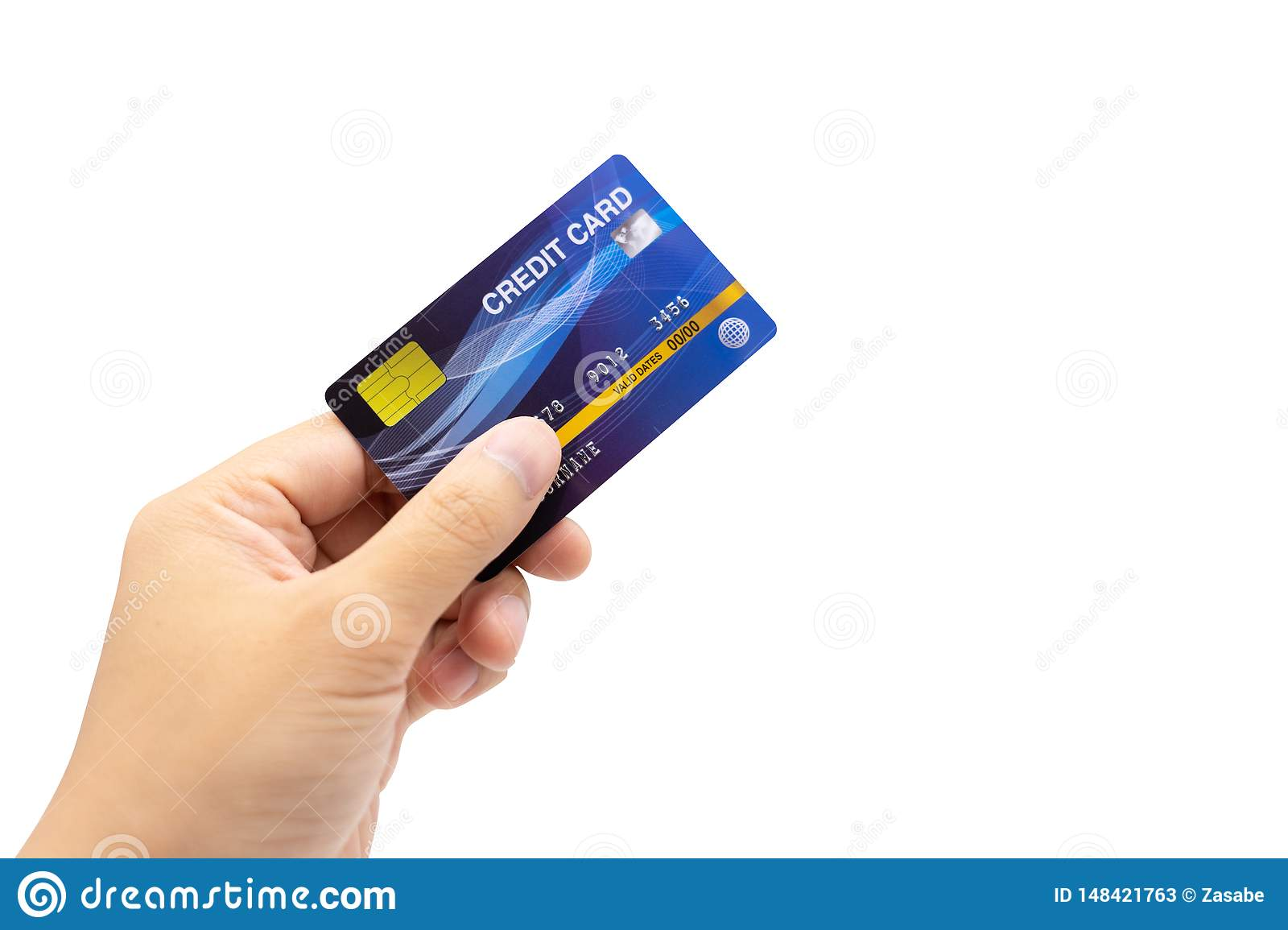 Personal hand holding credit card, white background, cashless concept Electronic money Creating liabilities