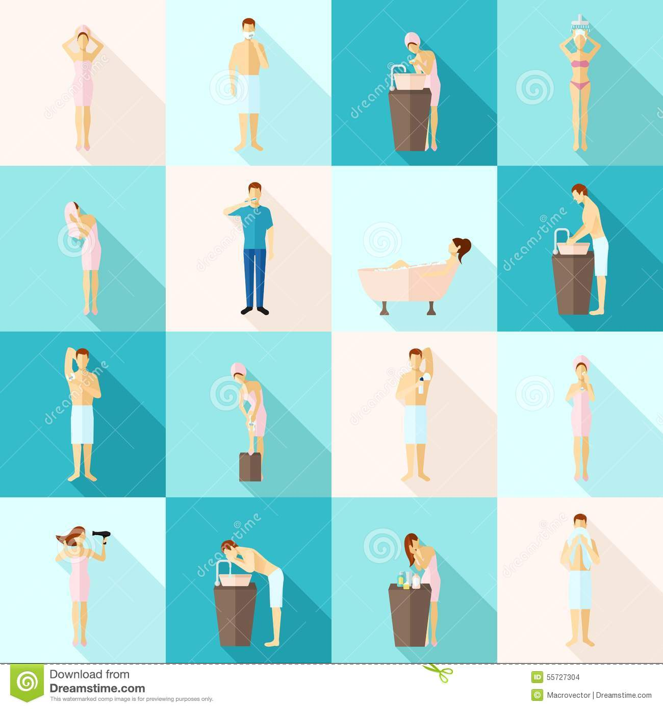 Personal Hygiene Flat Icons Set Stock Vector Image 55727304