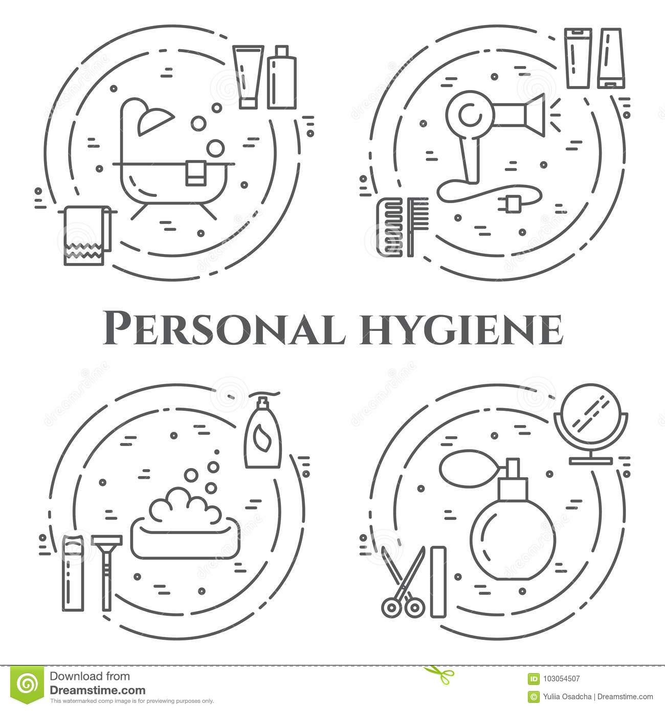 Personal Hygiene Line Banner. Set Of Elements Of Shower, Soap ...