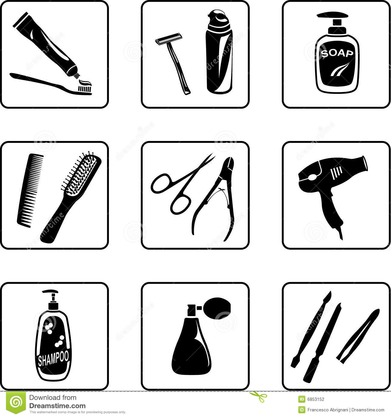 Personal hygiene objects stock vector illustration of for A bathroom item that starts with p