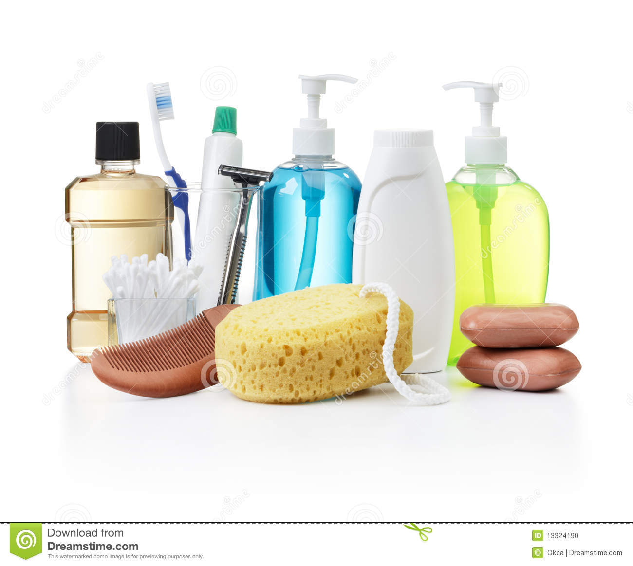 Personal hygiene products stock photo. Image of powder